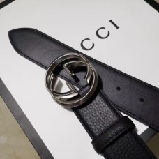 Gucci 3.8cm Wide grained Leather Belt With silver gg buckle
