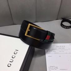 gucci 3.5cm width men's leather belt with web black 495125
