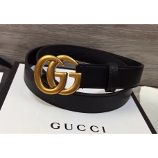 Gucci 3cm Wide Leather Belt With gold gg buckle