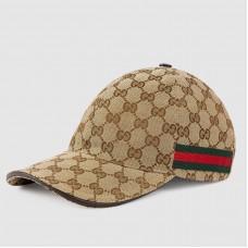 Gucci Beige Original GG Canvas Baseball Hat With Web