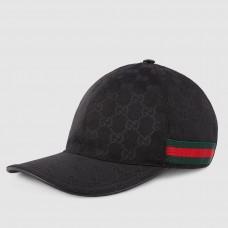 Gucci Black Original GG Canvas Baseball Hat With Web