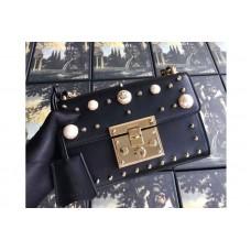 Guccci 432182 Padlock Studded Leather Shoulder Bag Black