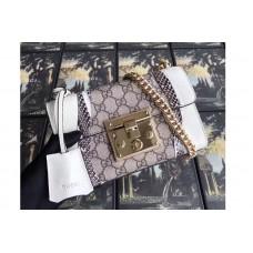 Guccci 432182 Padlock Studded Leather With GG Supreme Shoulder Bag