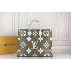 Louis Vuitton M44571 LV Onthego tote bags Monogram coated canvas Khaki Green/White/Beige/Crème Beige