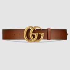 Gucci Camarel Leather Belt With Double G Buckle