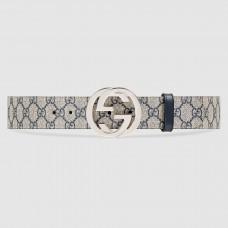 Gucci Beige/blue GG Supreme Belt With G Buckle