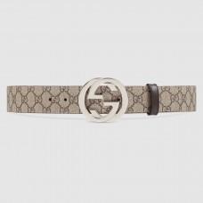 Gucci Beige/ebony GG Supreme Belt With G Buckle