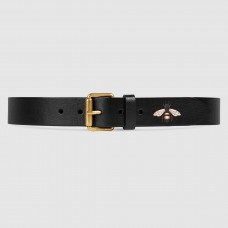 Gucci Black Bee Print Leather Belt With Square Buckle