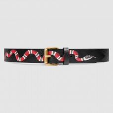 Gucci Black Kingsnake Print Leather Belt With Square Buckle