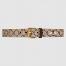 Gucci Bee Print GG Supreme Belt With Square Buckle