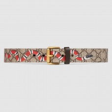 Gucci Kingsnake Print GG Supreme Belt With Square Buckle
