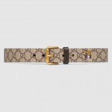 Gucci Tiger Print GG Supreme Belt With Square Buckle