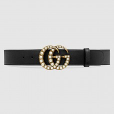 Gucci Black Leather Belt With Pearl Double G Buckle