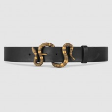 Gucci Black Leather Belt With Snake Buckle