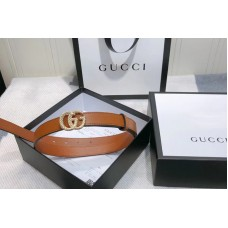 Gucci 2cm Leather belt with torchon Double G buckle in Brown Leather