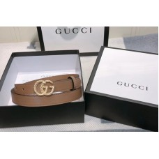 Gucci 2cm Leather belt with torchon Double G buckle in Khaki Leather