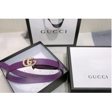 Gucci 2cm Leather belt with torchon Double G buckle in Purple Leather
