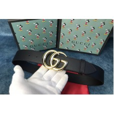 Gucci 406831 GG Marmont leather belt with shiny buckle in Black leather