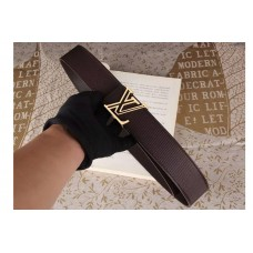 Louis Vuitton Epi Leather Brown Belts With Gold Buckle