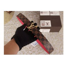 Louis Vuitton Damier Ebene Canvas Belts With Gold Buckle Red