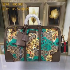 Gucci GG Supreme Canvas Medium Duffle Bag 406380 Bengal Green