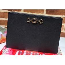 Gucci Zumi Grainy Leather Pouch Clutch Bag 570728 Black 2019
