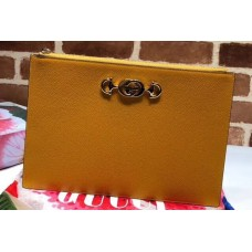 Gucci Zumi Grainy Leather Pouch Clutch Bag 570728 Yellow 2019