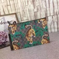 Gucci  GG Supreme mens portfolios bengal pouch clutch Bag 451473 green(MS-741501)
