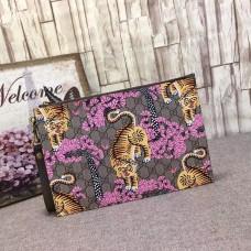 Gucci  GG Supreme mens portfolios bengal pouch clutch Bag 451473 pink(MS-741502)