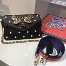 Gucci Broadway calfskin leather clutch Black (SuperM-71901)
