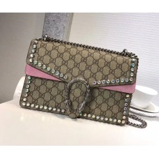 Gucci Dionysus GG Small Crystal Shoulder Bag 400249 Pink 2018
