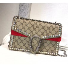 Gucci Dionysus GG Small Crystal Shoulder Bag 400249 Red 2018