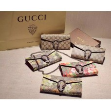 Gucci Dionysus Geranium GG Supreme Chain Wallet In Red