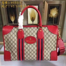 Gucci mens suitcases duffle bags soft GG supreme duffle bag with web 459311 Red leather(JLX-741301)