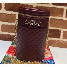 Gucci Interlocking G Horsebit Quilted Leather Belt Bag 572298 Burgundy 2019