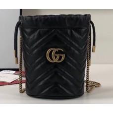Gucci GG Marmont Double G Mini Bucket Bag 575163 Black 2019