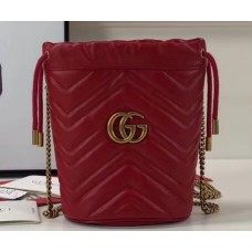 Gucci GG Marmont Double G Mini Bucket Bag 575163 Red 2019