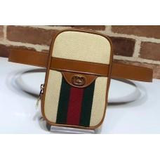 Gucci Web Vintage Canvas Belted IPhone Case Bag 581519 Beige 2019