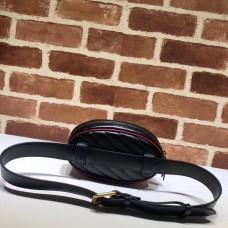 Gucci Diagonal GG Marmont Double G Leather Belt Bag 476434 Black 2019