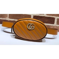 Gucci Diagonal GG Marmont Double G Leather Belt Bag 476434 Brown 2019