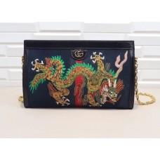 Gucci Ophidia Embroidered Medium Shoulder Bag 503876 Blue Suede 2018