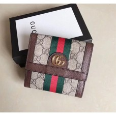 Gucci Ophidia GG French Flap Wallet 523173 Brown 2018