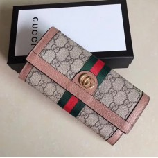 Gucci Ophidia GG Continental Wallet 523153 Pink 2018