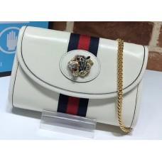 Gucci Vintage Web Rajah Chain Mini Bag 573797 Leather White 2019