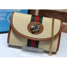Gucci Vintage Web Rajah Chain Mini Bag 573797 Canvas Beige 2019