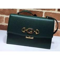 Gucci Zumi Grainy Leather Small Shoulder Bag 576338 Green 2019