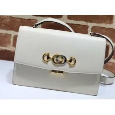 Gucci Zumi Grainy Leather Small Shoulder Bag 576338 White 2019