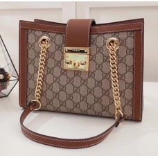 Gucci Padlock GG Supreme Canvas Shoulder Small Bag 498156 Brown 2017