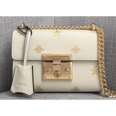 Gucci Padlock Bee Star Small Shoulder Bag 432182 White 2018