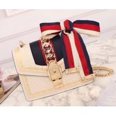 Gucci Sylvie Leather Mini Chain Bag 431666 White 2018